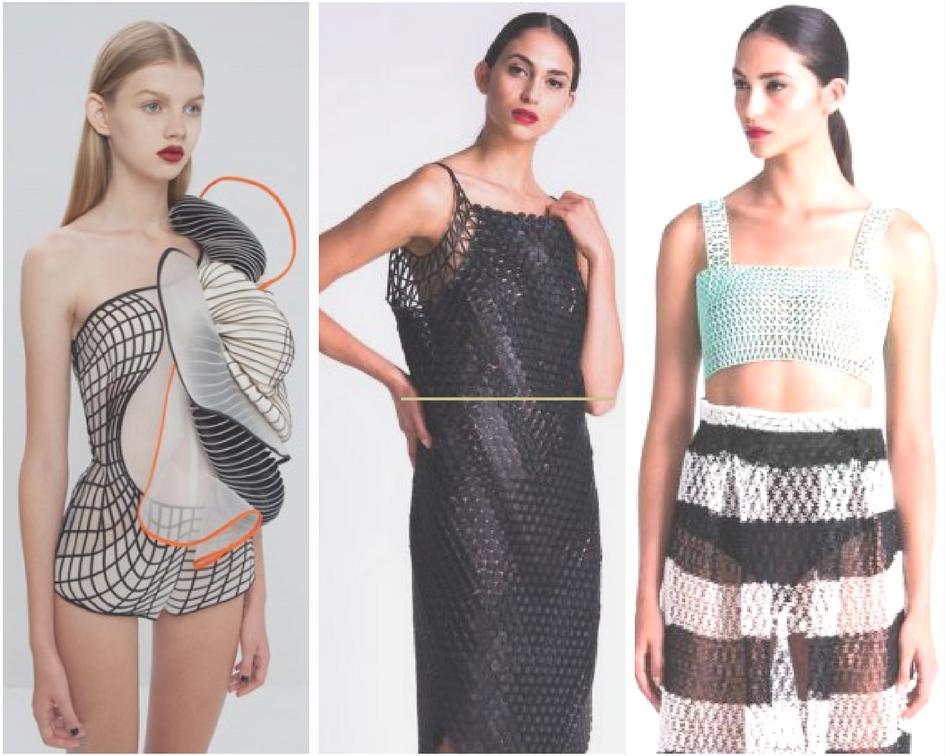 Vestidos de moda realizados con impresora 3D